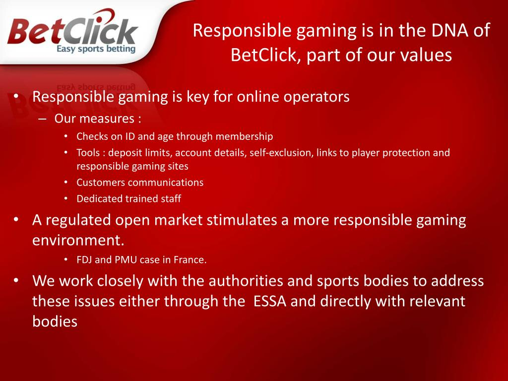 Responsible gaming is in the DNA of BetClick, part of our values