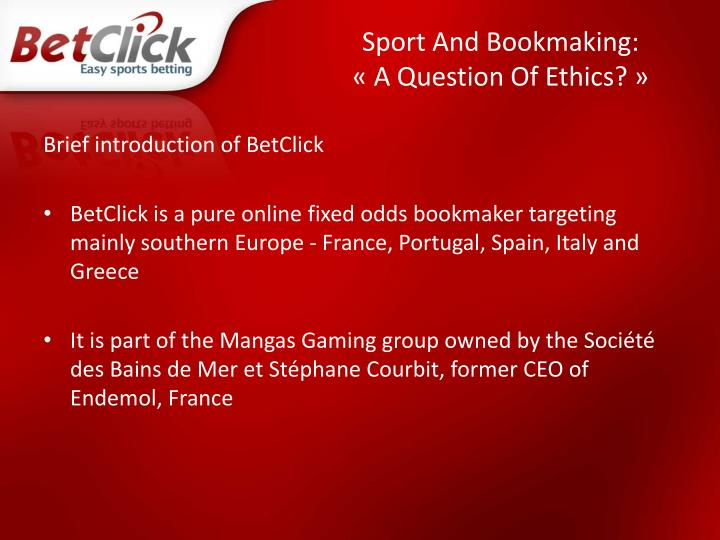 Sport and bookmaking a question of ethics2