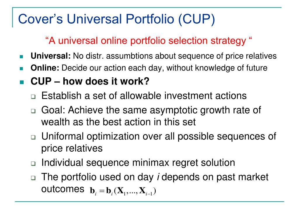 Cover's Universal Portfolio (CUP)