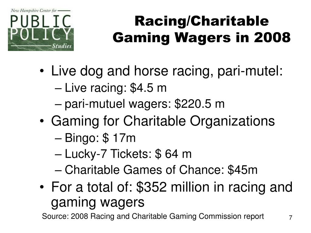 Racing/Charitable Gaming Wagers in 2008