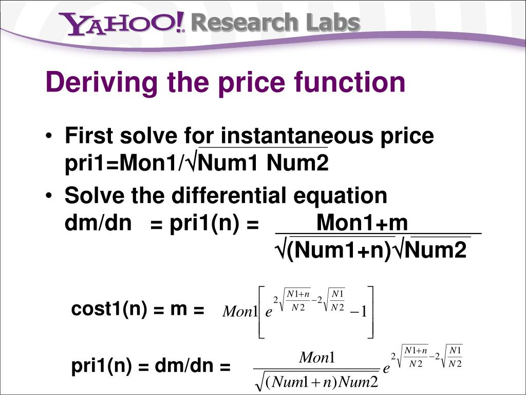 Deriving the price function