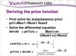 deriving the price function37