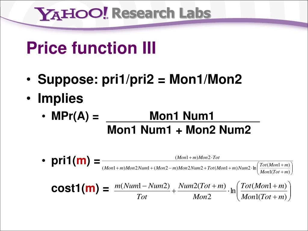 Price function III