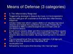 means of defense 3 categories4