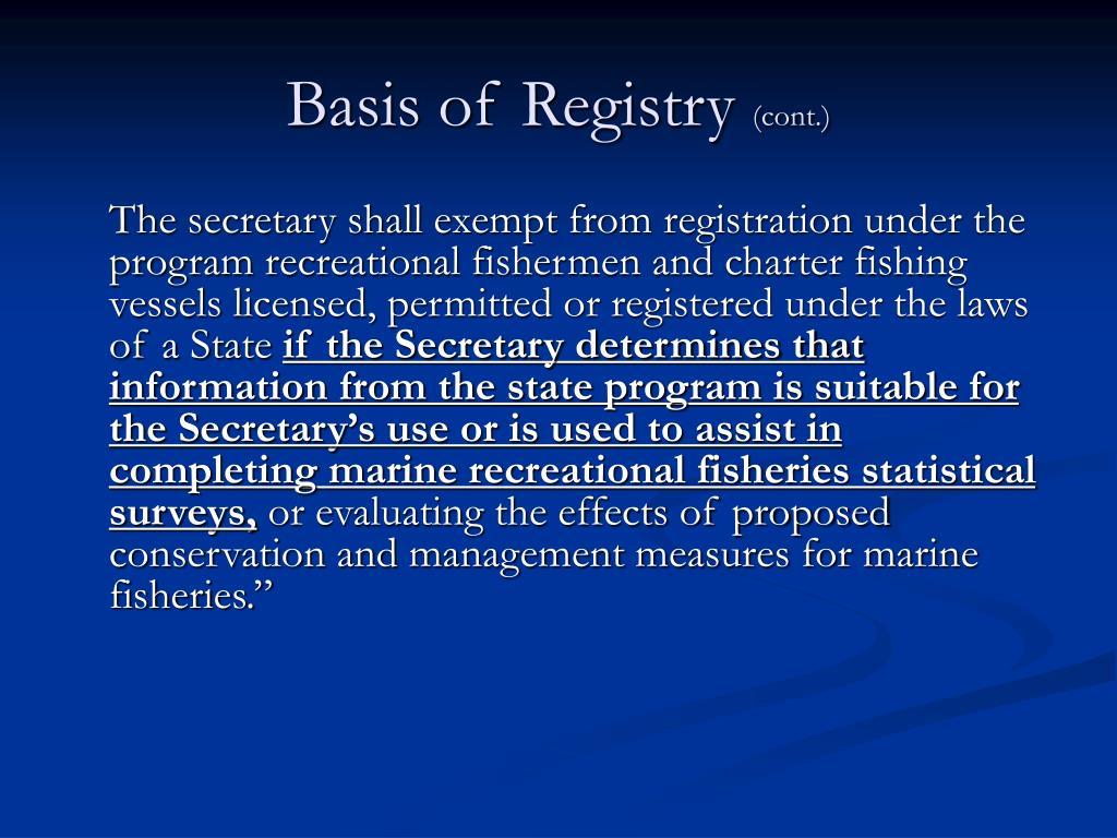 Basis of Registry