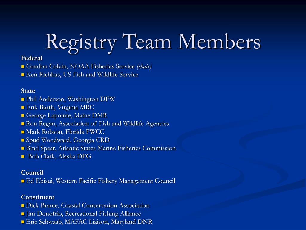 Registry Team Members