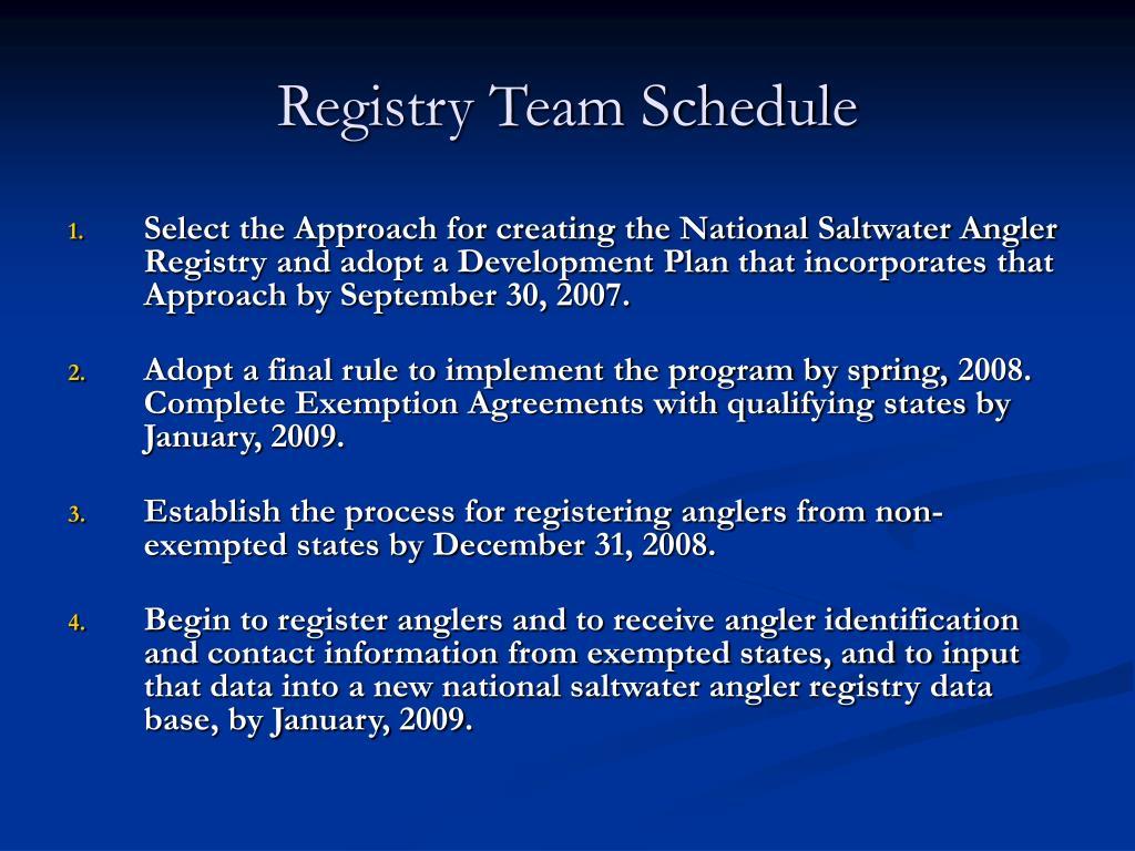 Registry Team Schedule