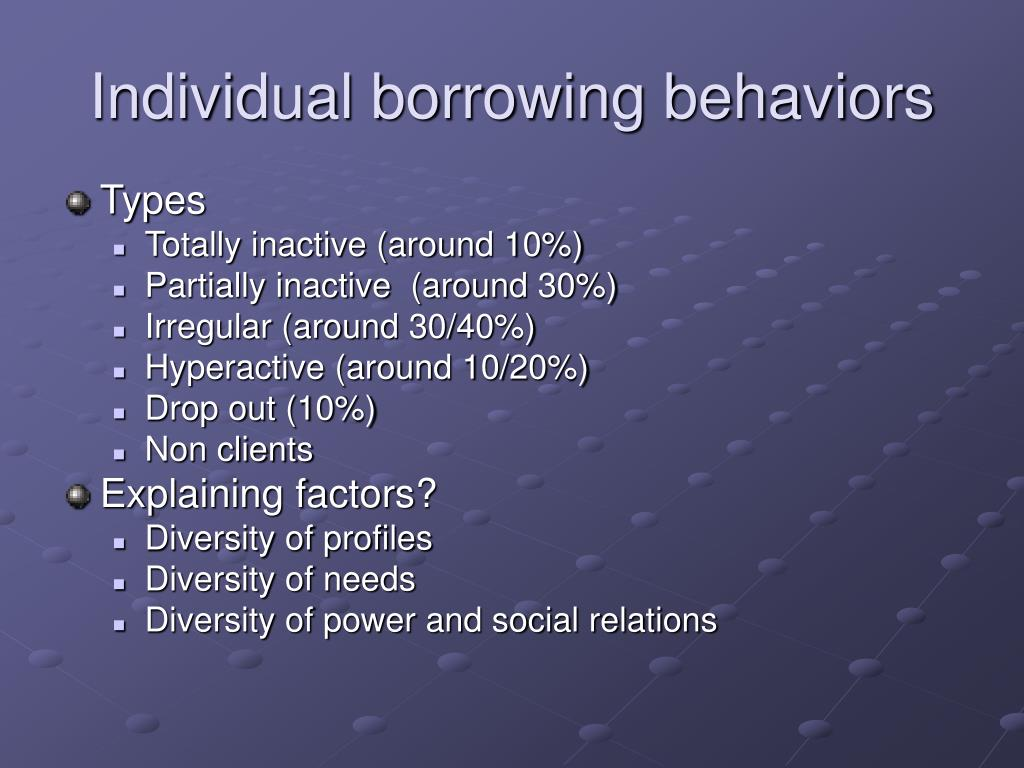Individual borrowing behaviors