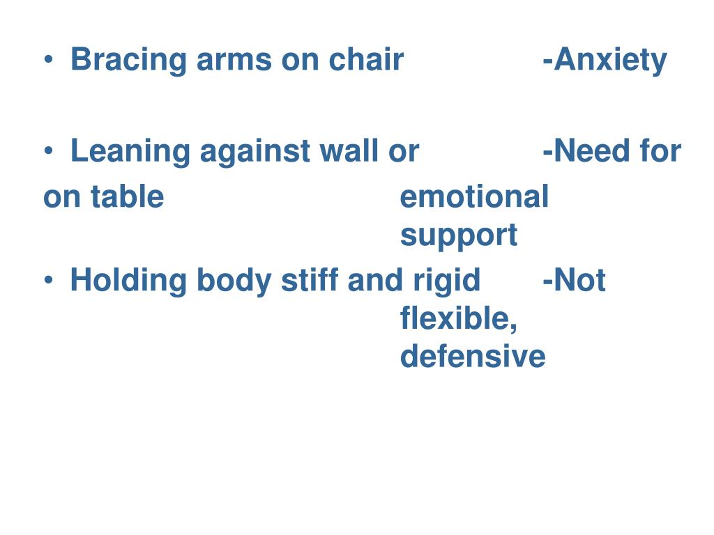 Bracing arms on chair 		-Anxiety