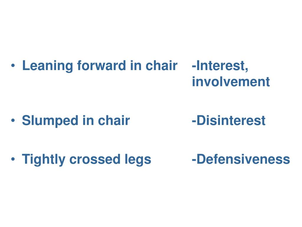 Leaning forward in chair 	-Interest, 								involvement