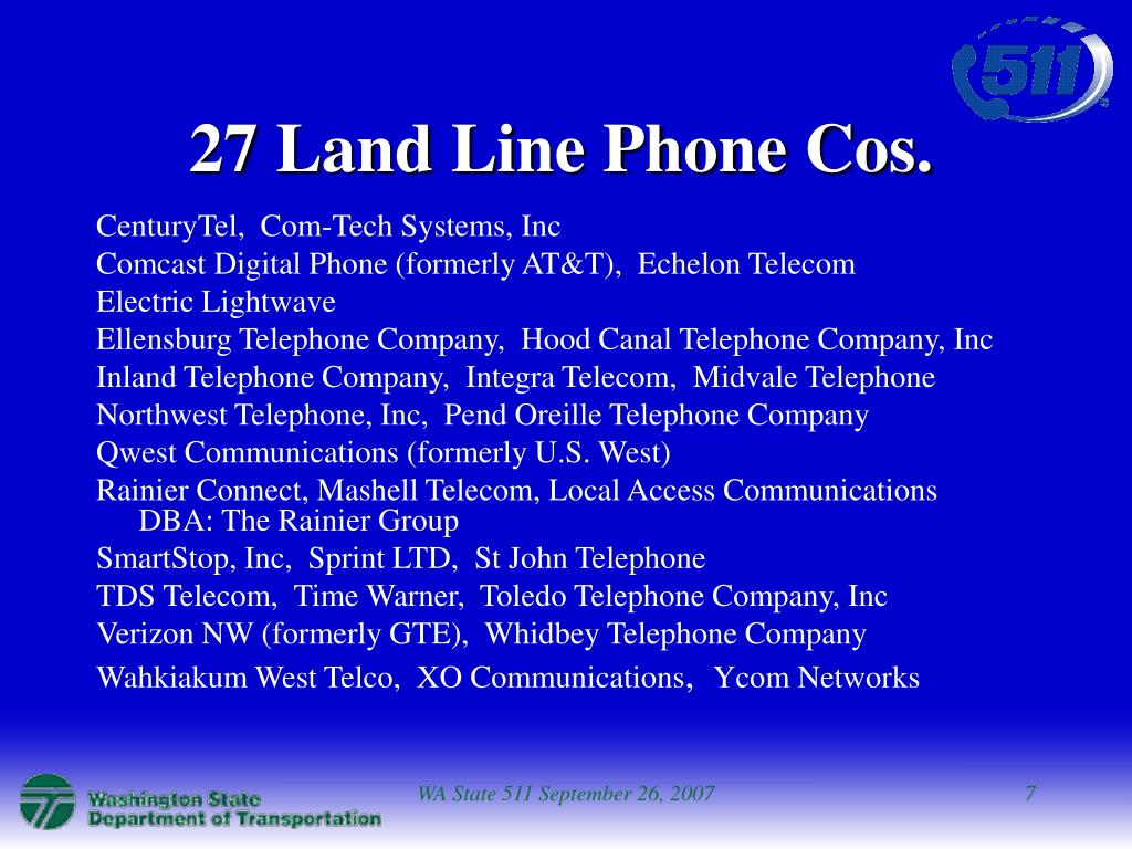 27 Land Line Phone Cos.
