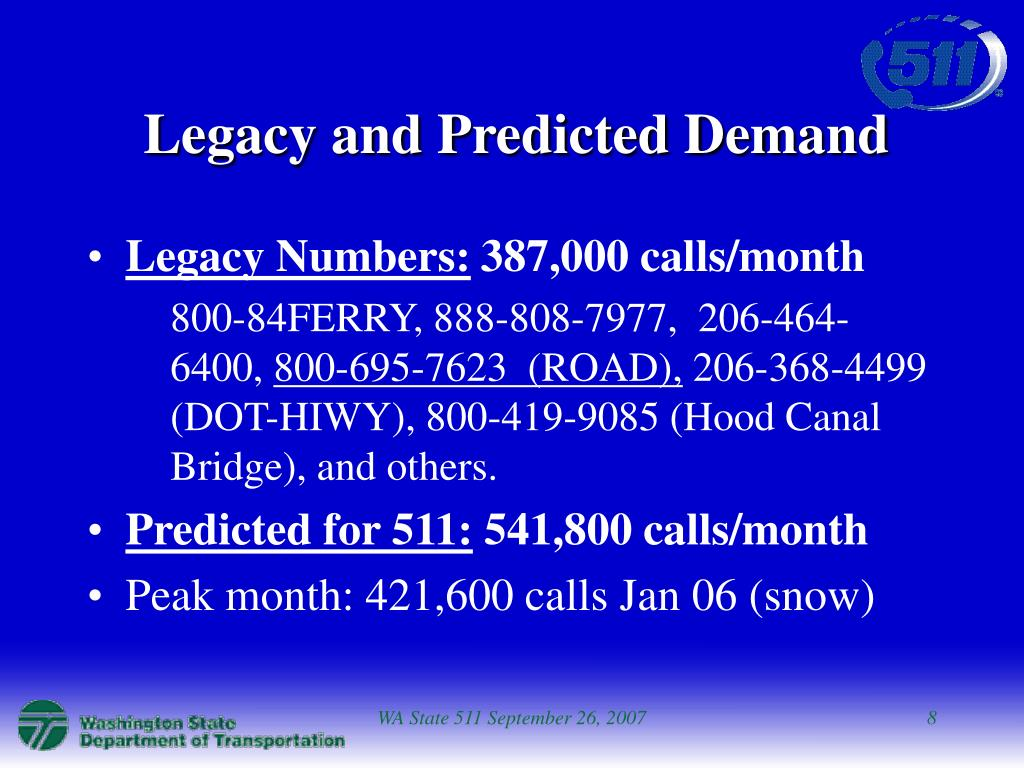 Legacy and Predicted Demand