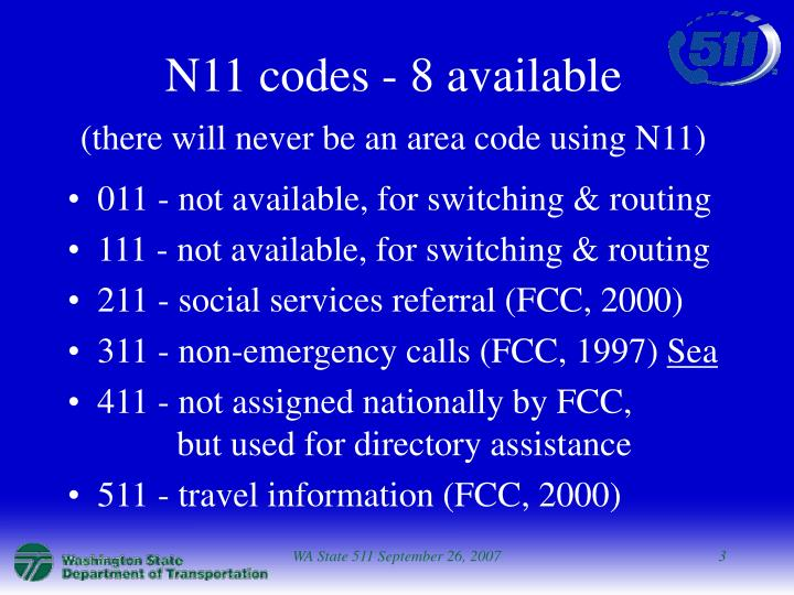 N11 codes 8 available there will never be an area code using n11