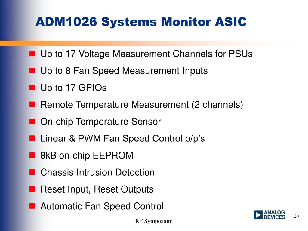 ADM1026 Systems Monitor ASIC