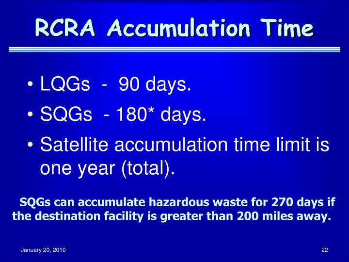 RCRA Accumulation Time