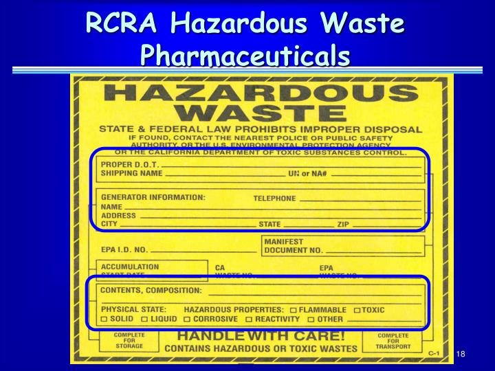 RCRA Hazardous Waste Pharmaceuticals