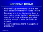 recyclable rcra