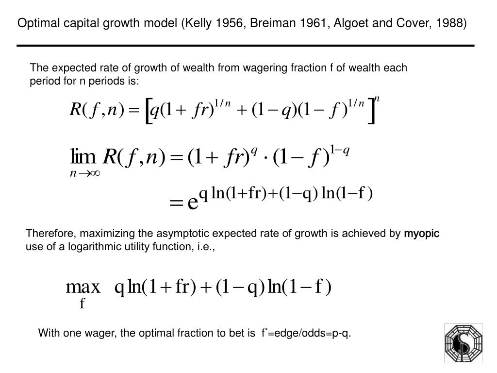Optimal capital growth model (Kelly 1956, Breiman 1961, Algoet and Cover, 1988)