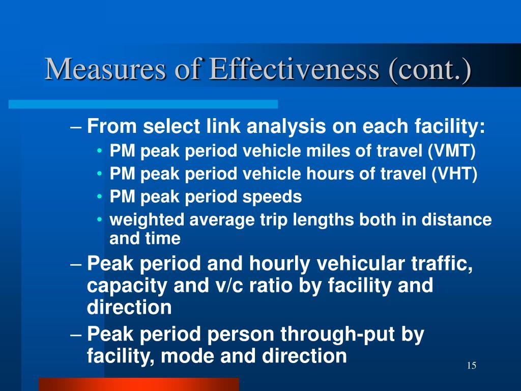Measures of Effectiveness (cont.)