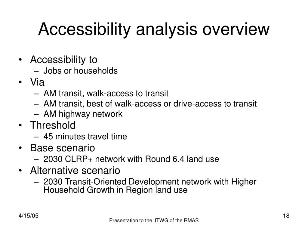 Accessibility analysis overview