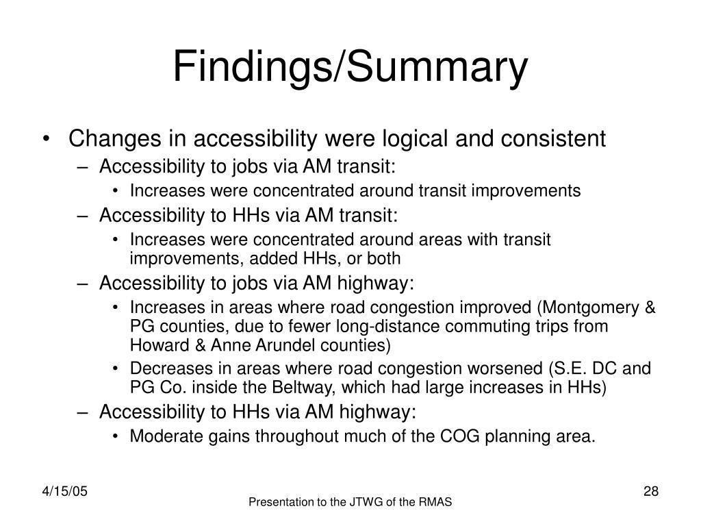 Findings/Summary
