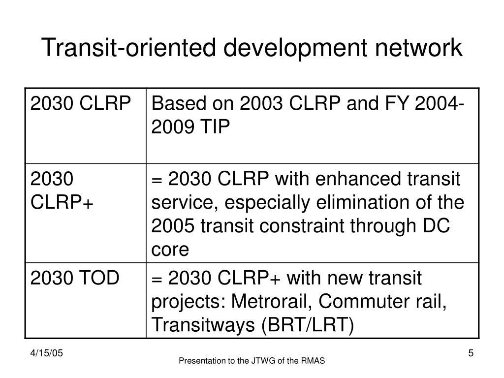 Transit-oriented development network