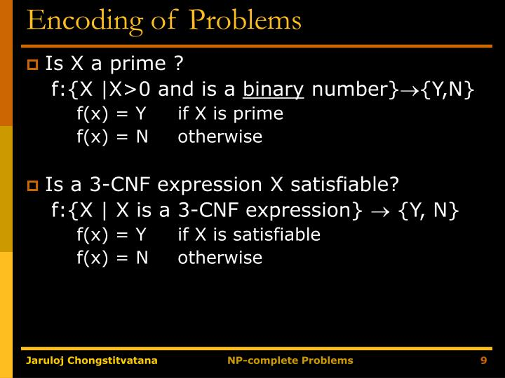 Encoding of Problems