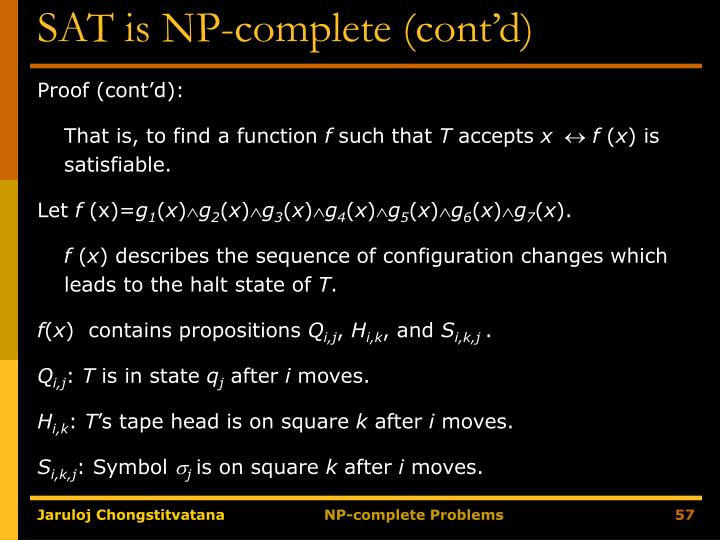 SAT is NP-complete (cont'd)