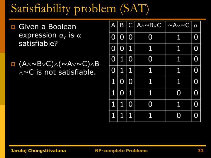 Satisfiability problem (SAT)