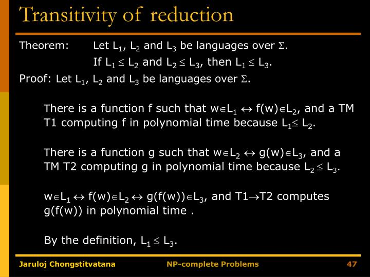 Transitivity of reduction