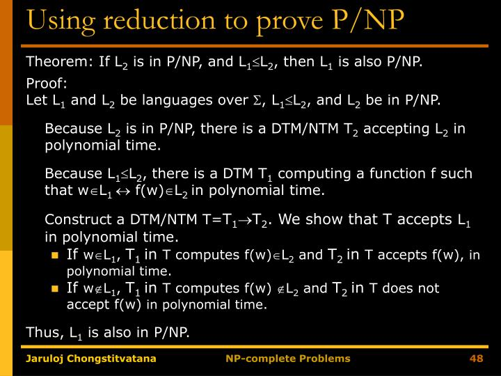 Using reduction to prove P/NP