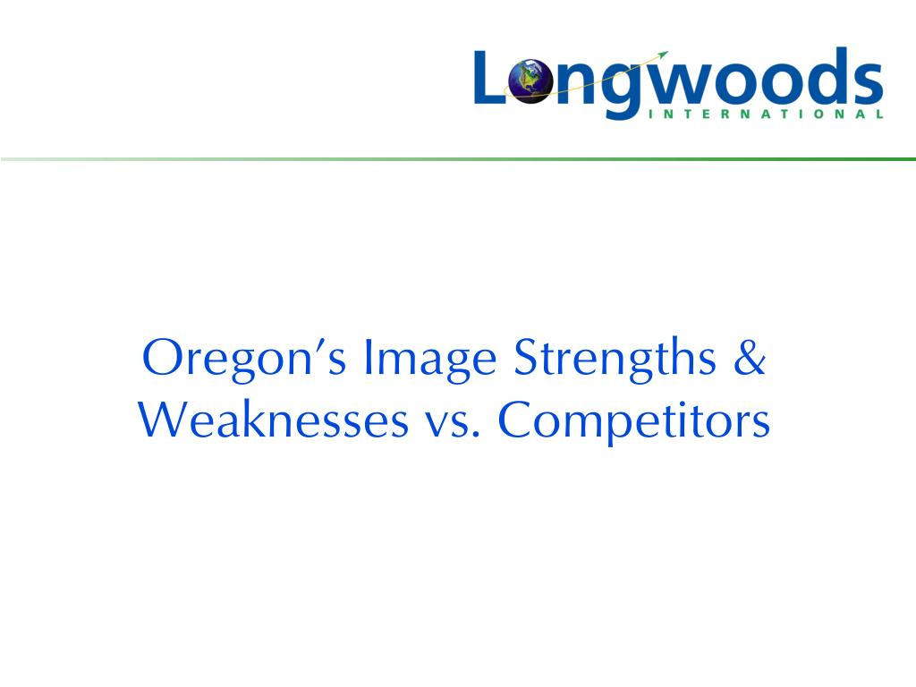 Oregon's Image Strengths & Weaknesses vs. Competitors