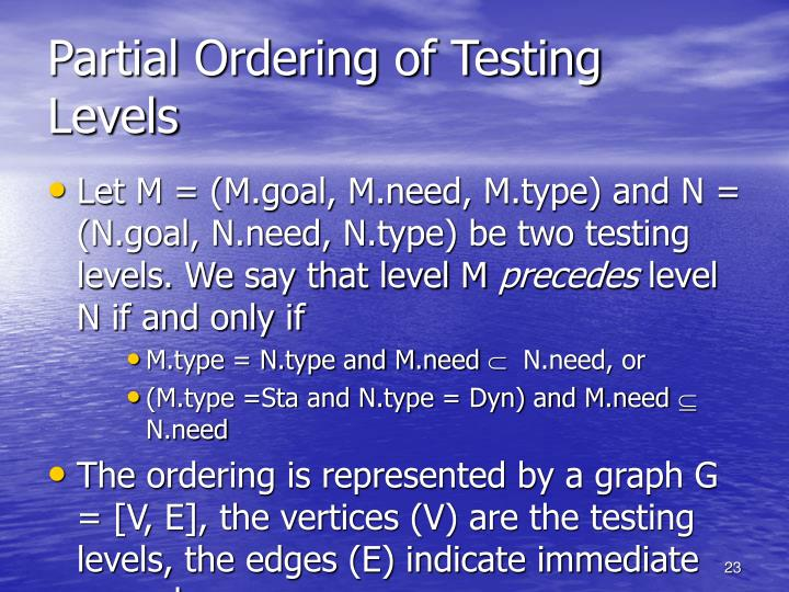 Partial Ordering of Testing Levels