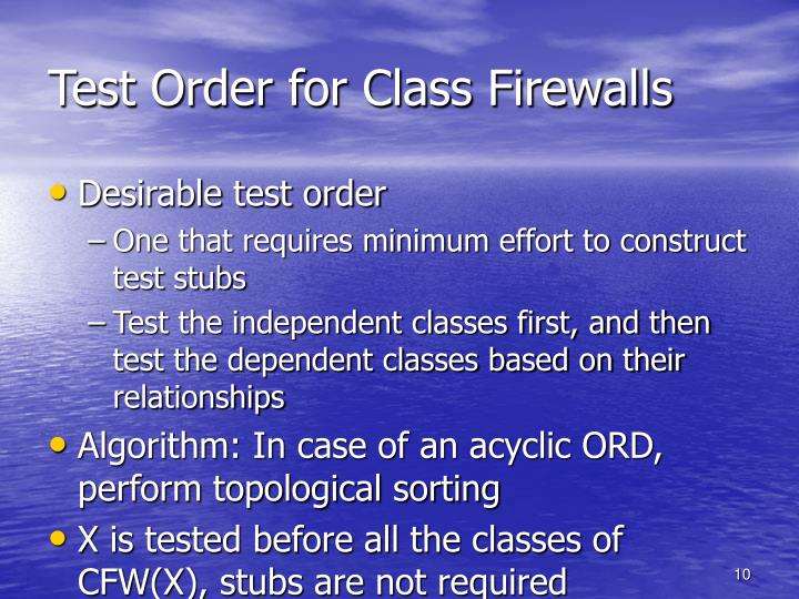 Test Order for Class Firewalls