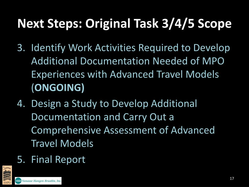 Next Steps: Original Task 3/4/5 Scope