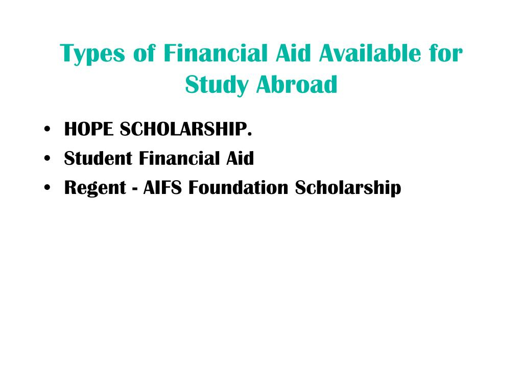 Types of Financial Aid Available for Study Abroad