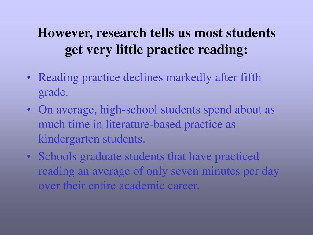 However, research tells us most students get very little practice reading: