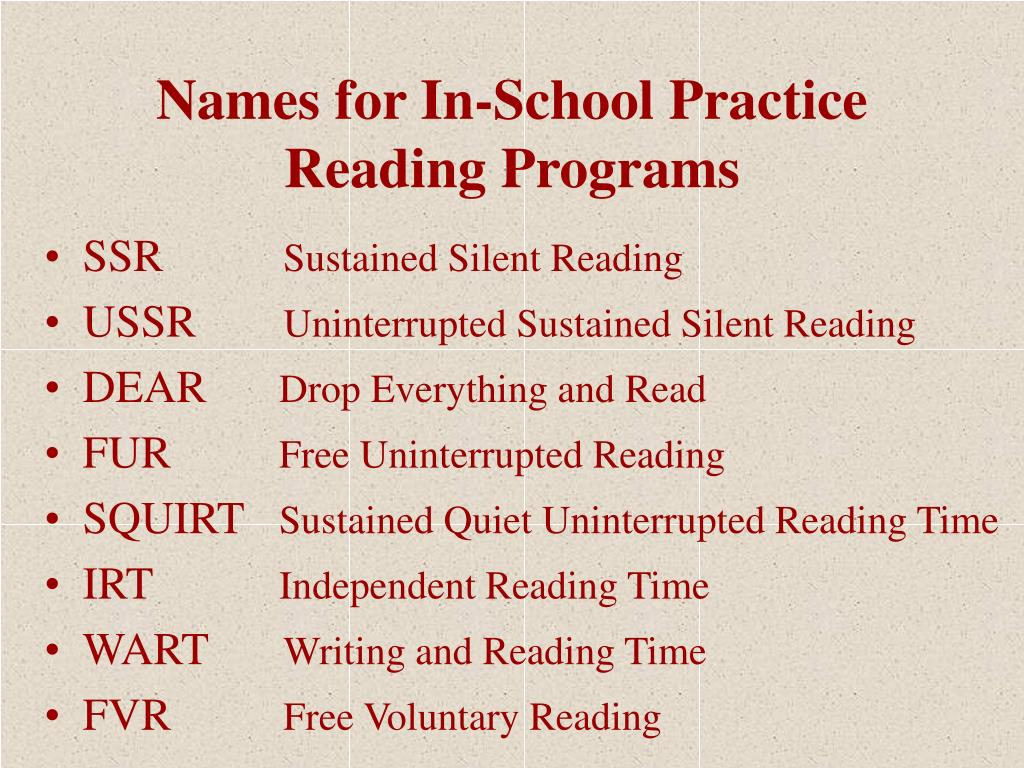 Names for In-School Practice Reading Programs