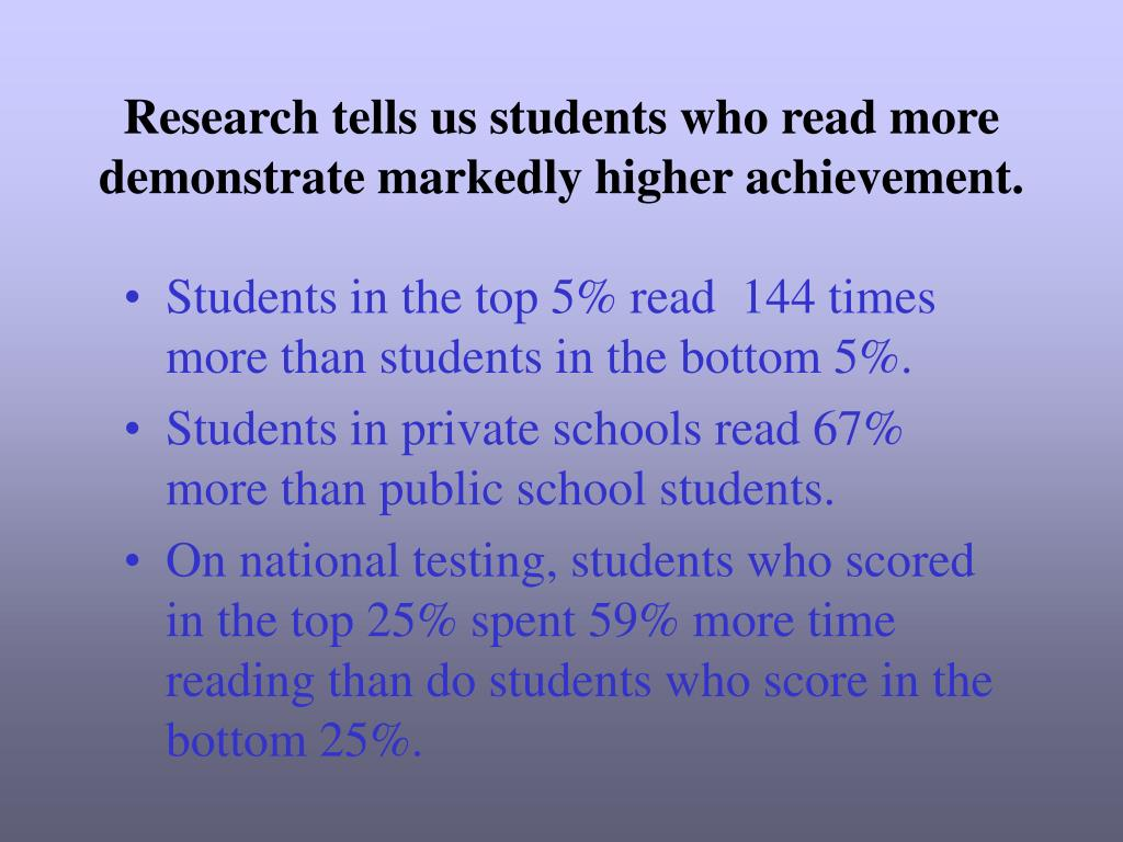 Research tells us students who read more demonstrate markedly higher achievement.