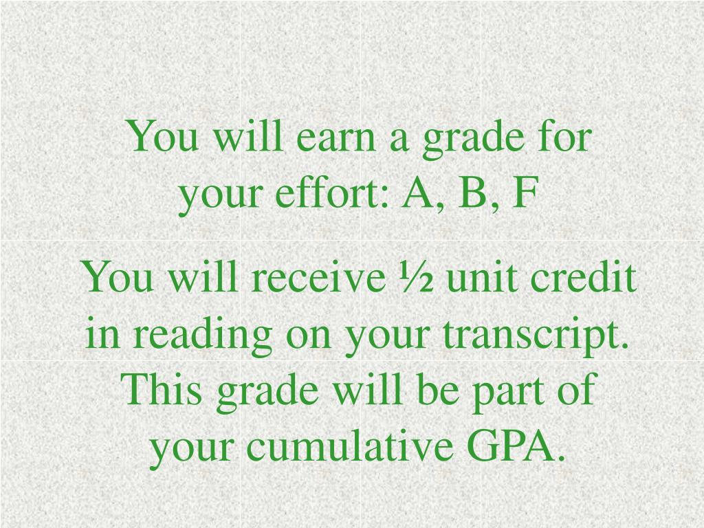 You will earn a grade for your effort: A, B, F
