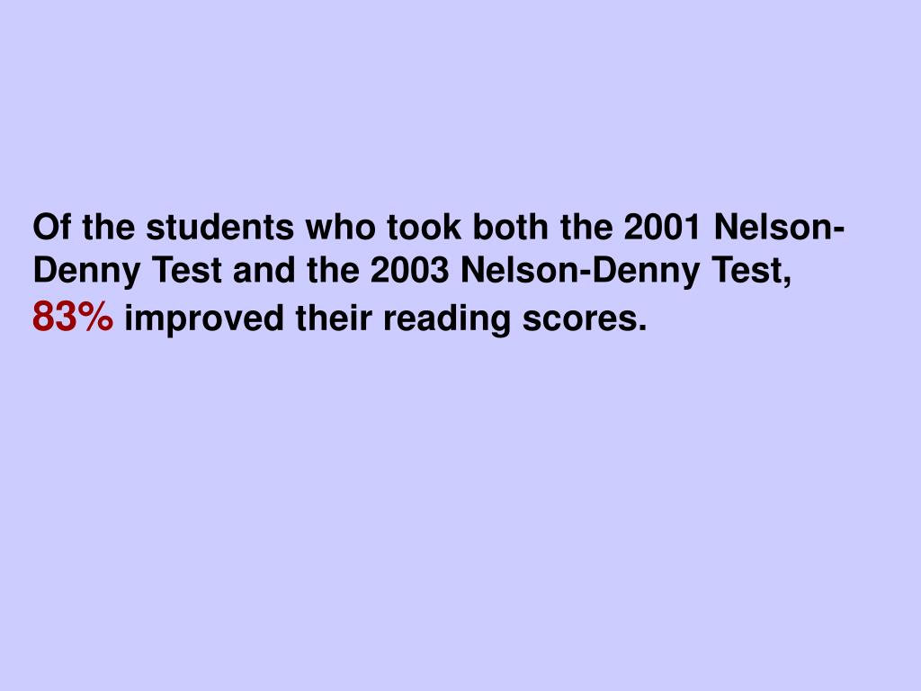 Of the students who took both the 2001 Nelson-