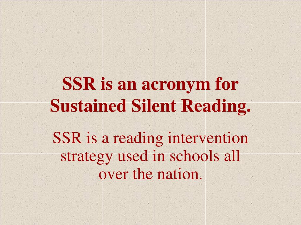 SSR is an acronym for