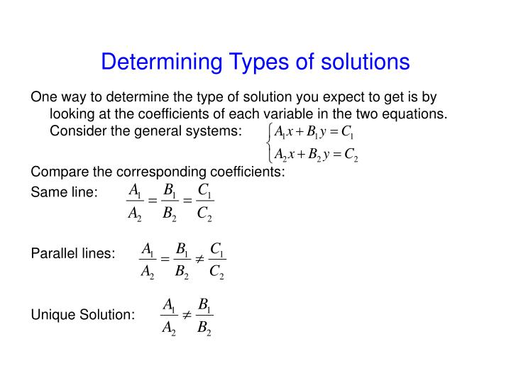 Determining Types of solutions