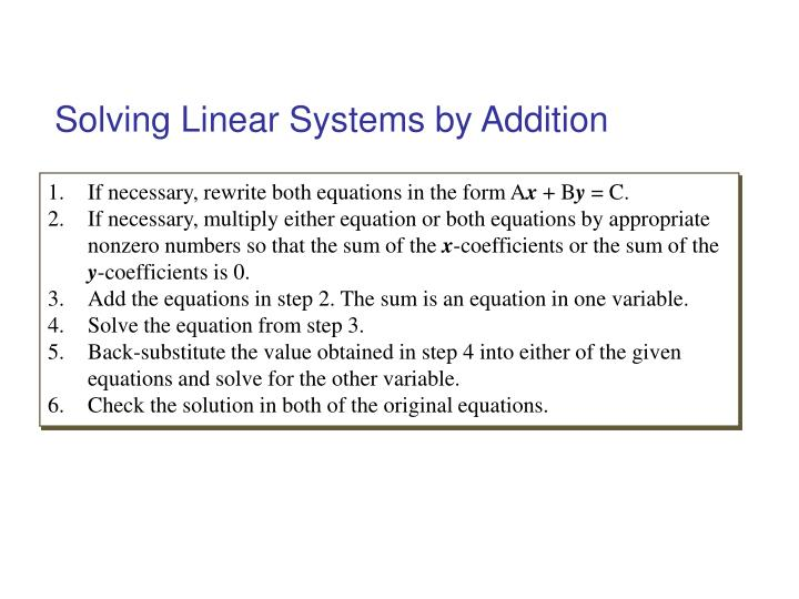 Solving Linear Systems by Addition
