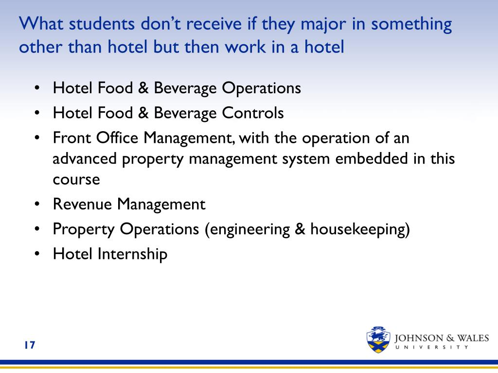 What students don't receive if they major in something other than hotel but then work in a hotel