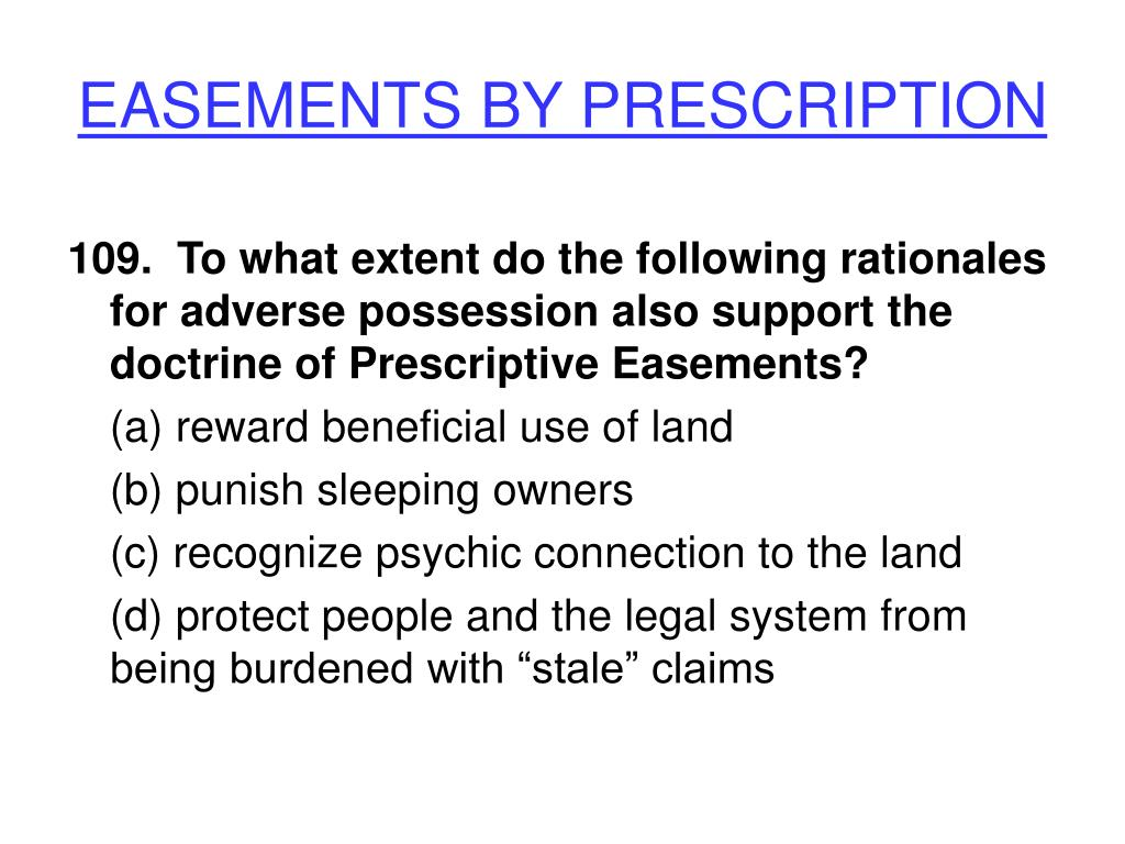 EASEMENTS BY PRESCRIPTION