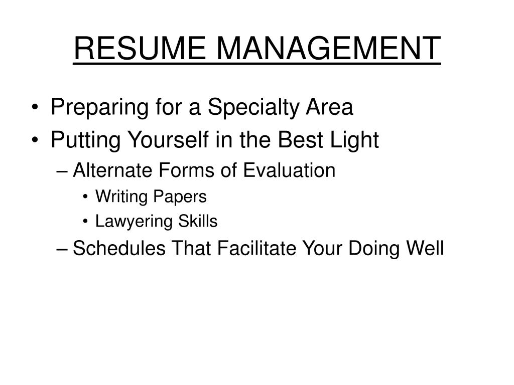 RESUME MANAGEMENT