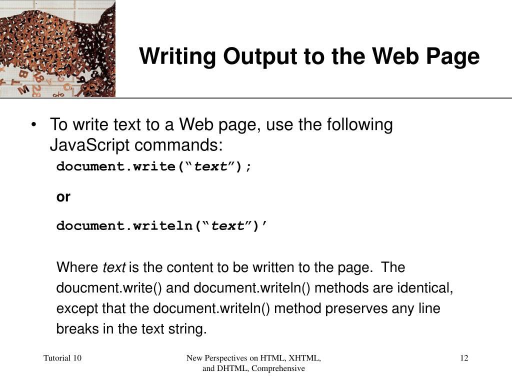 JavaScript document.writeln Problem