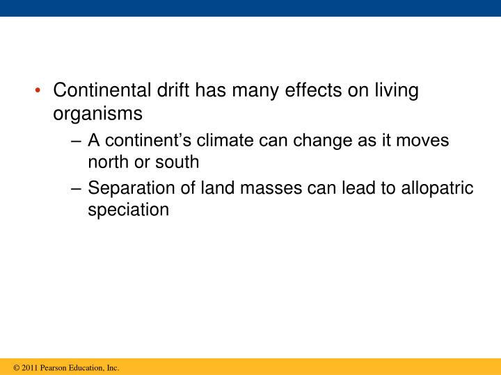 Continental drift has many effects on living organisms