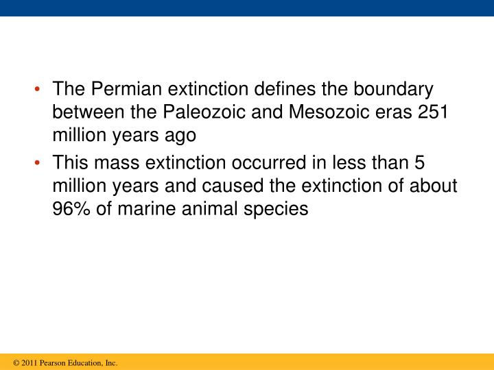 The Permian extinction defines the boundary between the Paleozoic and Mesozoic eras 251 million years ago